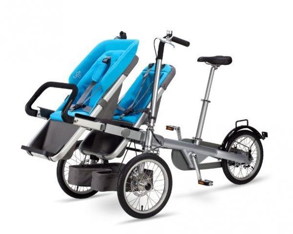portare due bambini in bici seggiolino blu