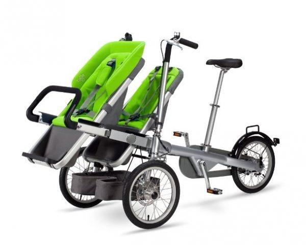portare due bambini in bici seggiolino verde