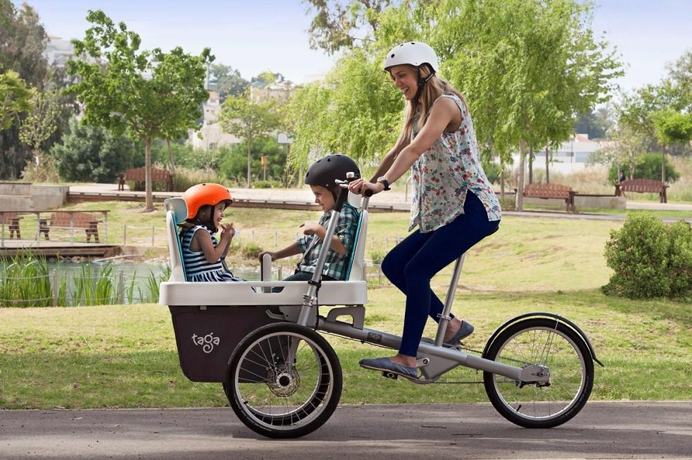 Transportieren 2 Kinder Auf Ein Fahrrad Sitzplatz Anhänger